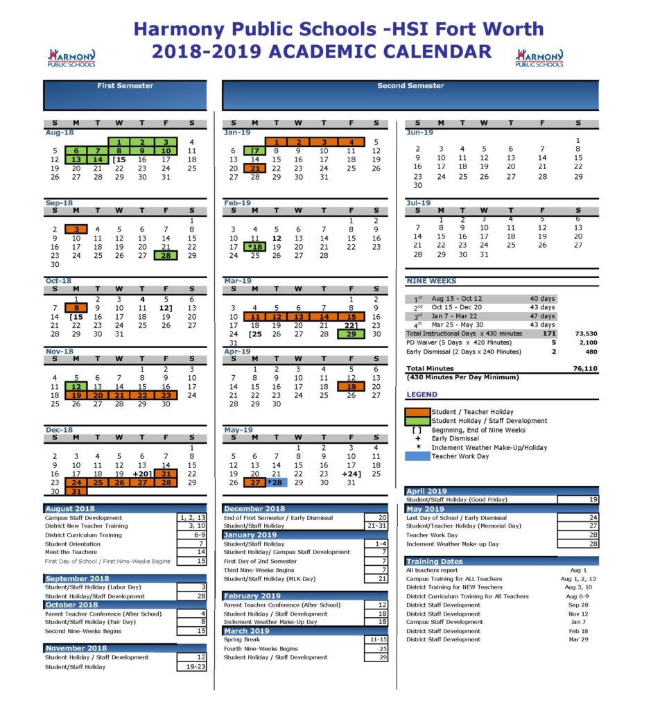 Fort Worth Calendar 2019 Academic Calendar – Harmony School of Innovation – Fort Worth